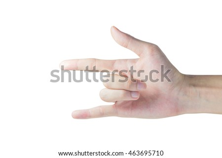 Hand Love Symbol Isolated on white with clipping path