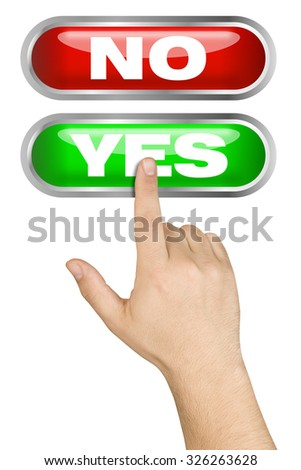 Hand made a choice pushing big green yes button isolated  - stock photo