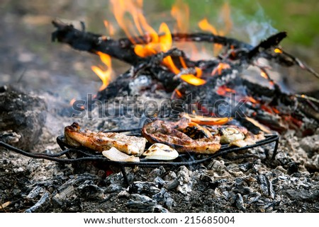 hand-made bbq in forest with beacon and vegetable covered with flames