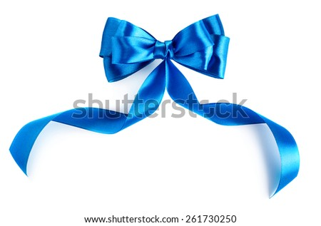 Hand made bow. Blue ribbon isolated on white background - stock photo