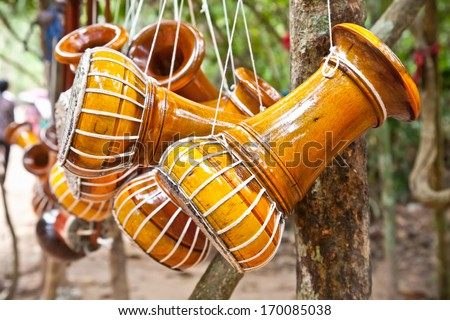 Hand made Cambodian drum musical instruments. - stock photo