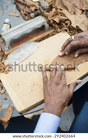 Hand made cigars.  - stock photo