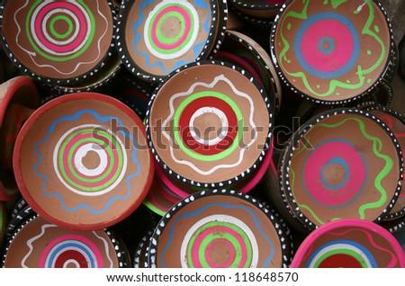 hand made clay plates - stock photo