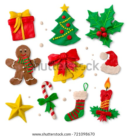 Hand Made Colored Plasticine Collection Christmas Stock Illustration