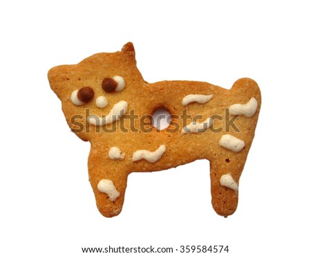 Hand made cookie looks like small cat - stock photo