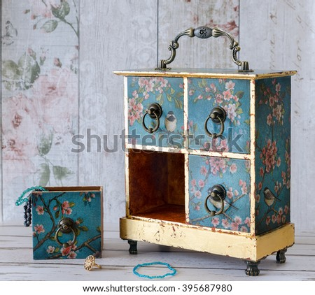 Hand made decoupaged jewellery box in a vintage shabby chic style - stock photo
