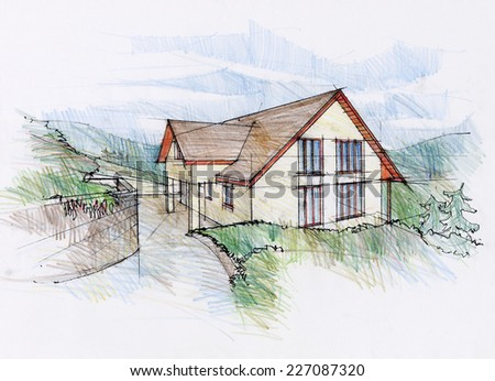 Hand made drawing of a house. Design sketch by an architect. - stock photo