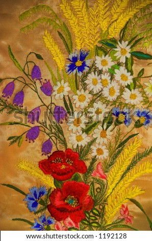 Hand-made embroidery - bunch of wild flowers