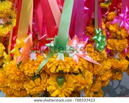 Hand made flower necklace using in the temple, colorful flower with ribbon use for praying in Buddhist temple