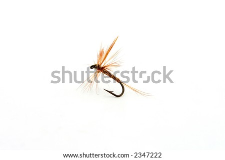 hand-made fly fishing hook isolated over a white background