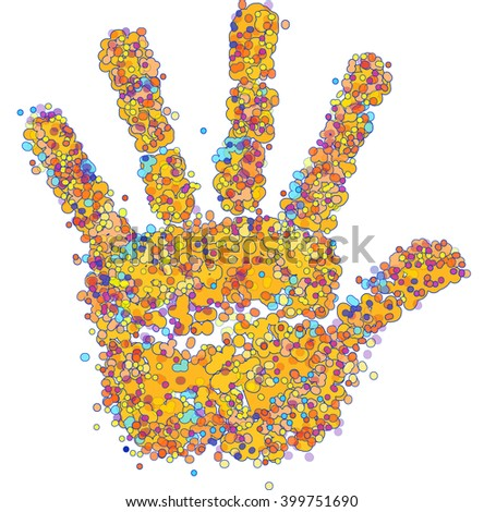 hand made from circles of different colors - stock photo