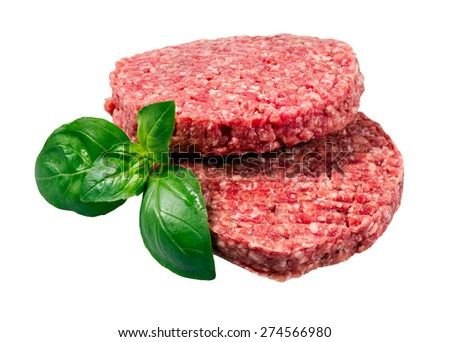 Hand Made From Minced Beef, Pork burgers patties isolated on white background. - stock photo