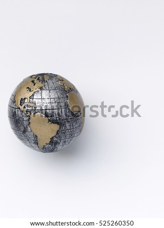 hand made globe on the white background