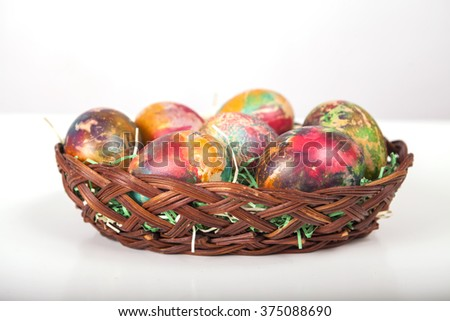 Hand made home made colored eggs for Easter in Bulgaria - stock photo