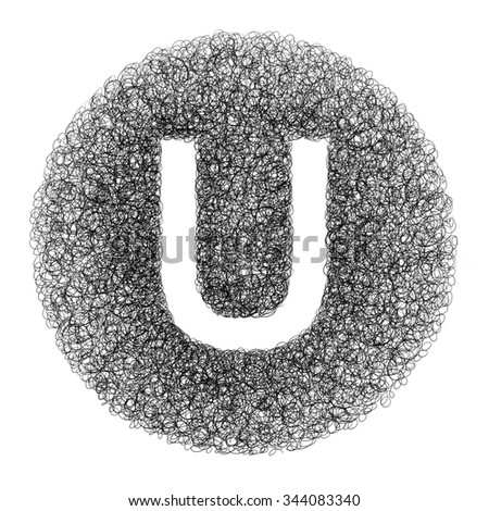 Hand made letter U drawn with graphic pen on white background - High resolution images - stock photo