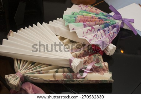 hand made paper fan - stock photo