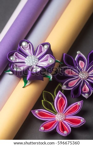 Handmade silk fabric flowers stock photo 596675360 shutterstock hand made silk fabric flowers mightylinksfo