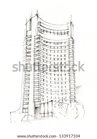 Hand Made Sketch Of A Modern Hotel - stock photo