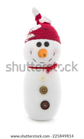 Hand Made Snowman with Red Hat on a White Background - stock photo