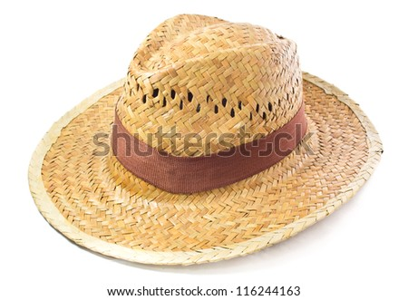Hand made straw hat isolated on white background