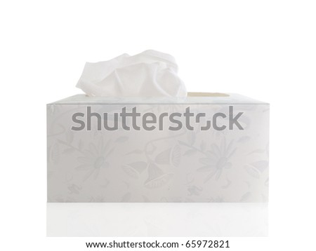 Hand made tissue box with tissue on a white background - stock photo