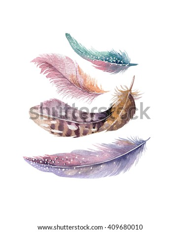 Hand made watercolor vibrant feather set.  Boho painting wings. illustration isolated on white. Bird fly design grain for T-shirt, invitation, wedding card.Rustic chicken feathers Bright colors.  - stock photo