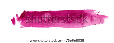hand made watercolor wash texture / abstract artistic painted stripe stain isolated on white background