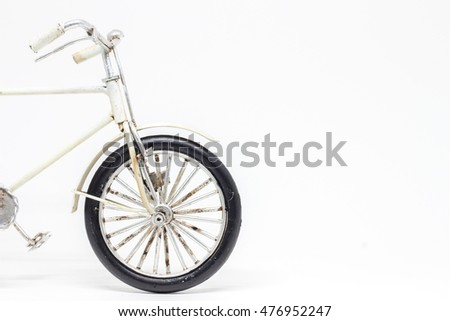 Hand made white bicycle model isolated on white background