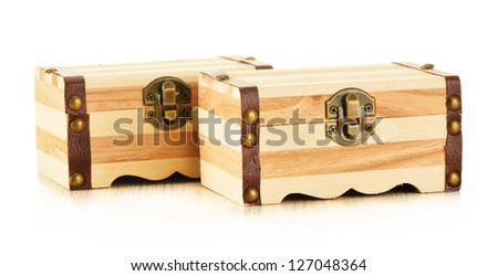 Hand made wooden box for keeping small personal belongings isolated on white background