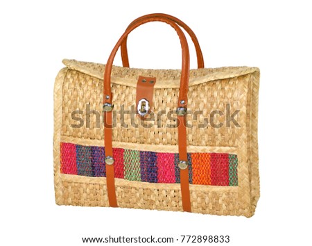 hand-made woven handbag isolated on white. Includes clipping path.