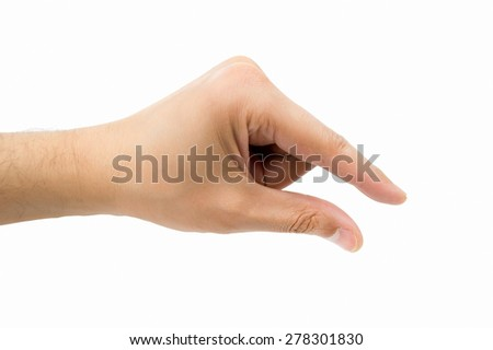 hand make the symbol that means catch on white background - stock photo