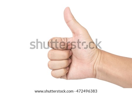 Hand making a sign on white background. Clipping path