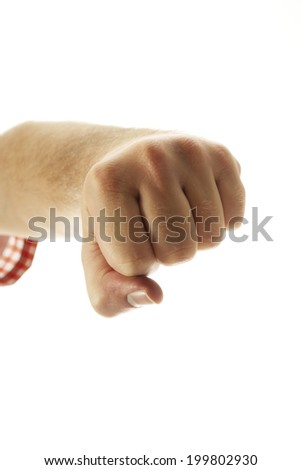 Hand making fist, close-up - stock photo