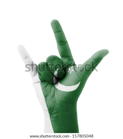 Hand making I love you sign, Pakistan flag painted, multi purpose concept - isolated on white background - stock photo