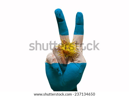 Hand making the V sign argentina country flag painted - stock photo
