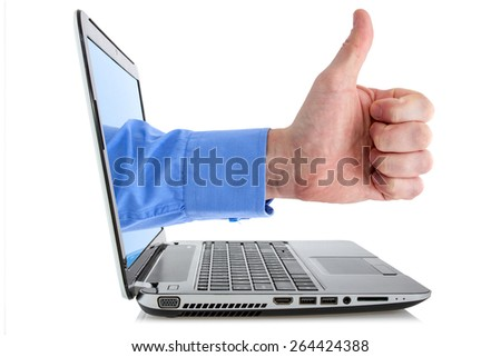 Hand making thumb up coming from laptop screen, isolated on white - stock photo