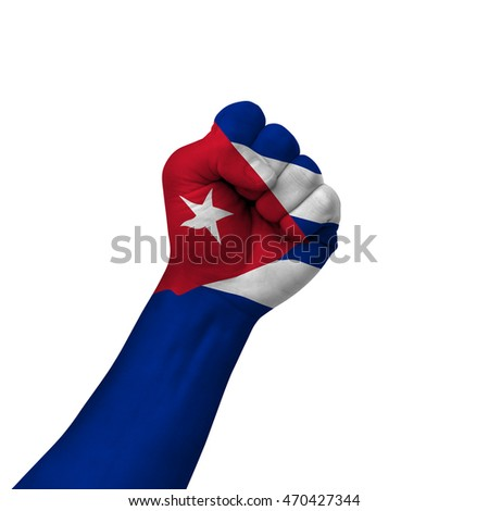 Hand making victory sign, cuba painted with flag as symbol of victory, resistance, fight, power, protest, success - isolated on white background