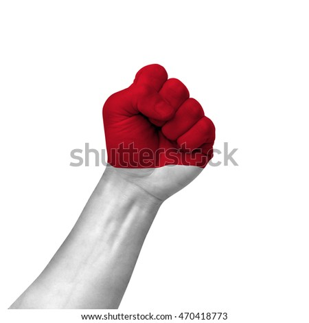 Hand making victory sign, monaco painted with flag as symbol of victory, resistance, fight, power, protest, success - isolated on white background