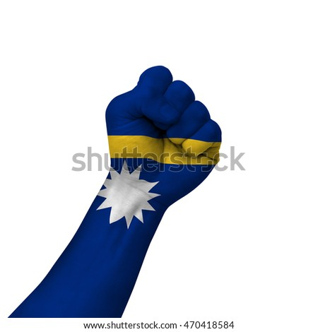 Hand making victory sign, nauru painted with flag as symbol of victory, resistance, fight, power, protest, success - isolated on white background