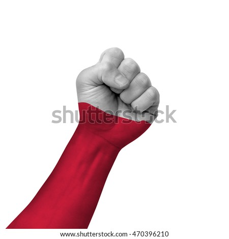Hand making victory sign, poland painted with flag as symbol of victory, resistance, fight, power, protest, success - isolated on white background