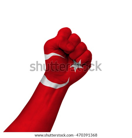 Hand making victory sign, turkey painted with flag as symbol of victory, resistance, fight, power, protest, success - isolated on white background