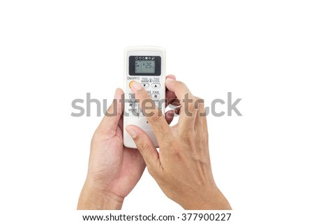 Hand man asia is holding a remote control of air conditioner 25 degrees ,Energy saving concept,on white background with clipping path