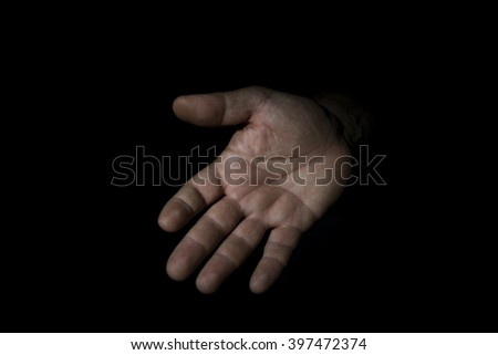 hand man in attitude to ask isolated on black background