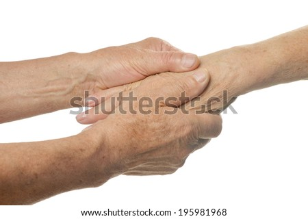 Hand massage. closeup on a white background