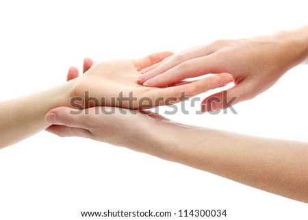 Hand massage, isolated on white - stock photo