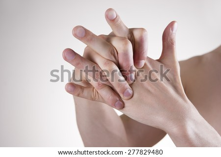 Hand Massage. Pain in the finger joints. Arthralgia - stock photo