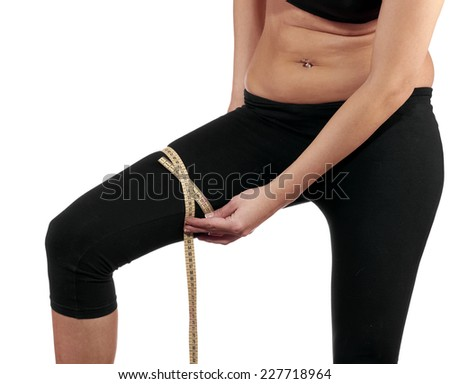 Hand measuring leg, weight loss concept. - stock photo