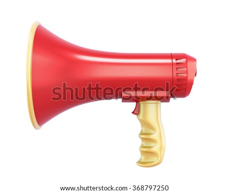 Hand megaphone isolated on white background. 3d rendering.