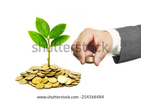 hand of a businessman giving coins to trees growing on golden coins - Business growth and wealth with csr concern - stock photo