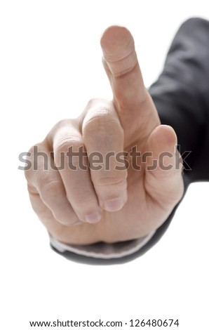 Hand of a businessman with pointed finger. Isolated on a white background. - stock photo